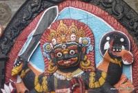 Ein Detail eines Tempels in Kathmandu
