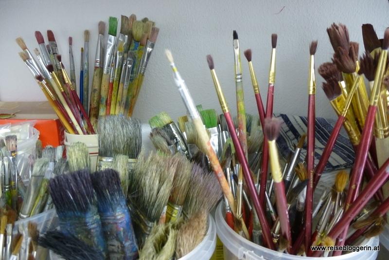 Pinsel im Atelier im Kunstmuseum Waldviertel