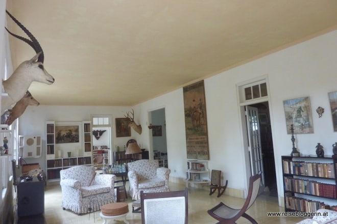 Das Wohnzimmer in der Villa Hemingway