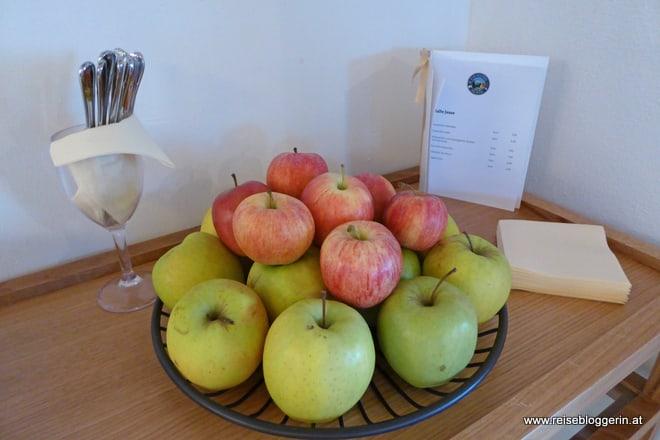 Äpfel im Wellnessbereich