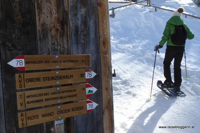 Schneeschuhwandern zur Steinzgeralm