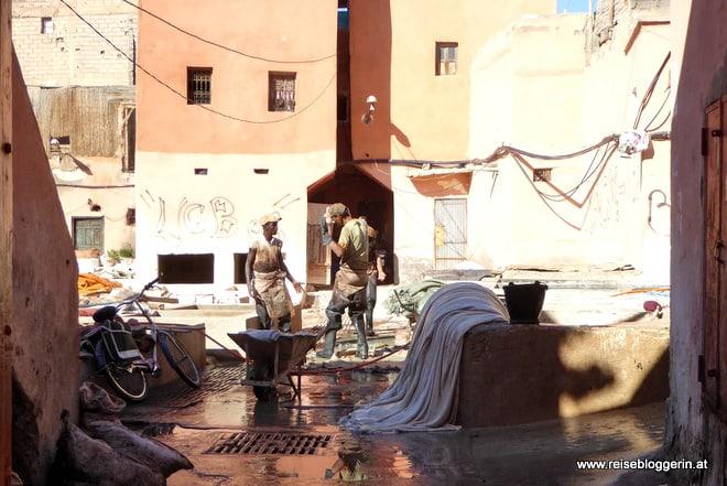 Eine Gerberei in Marrakesch