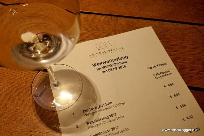 Weinverkostung im WeinKulturHaus Gols