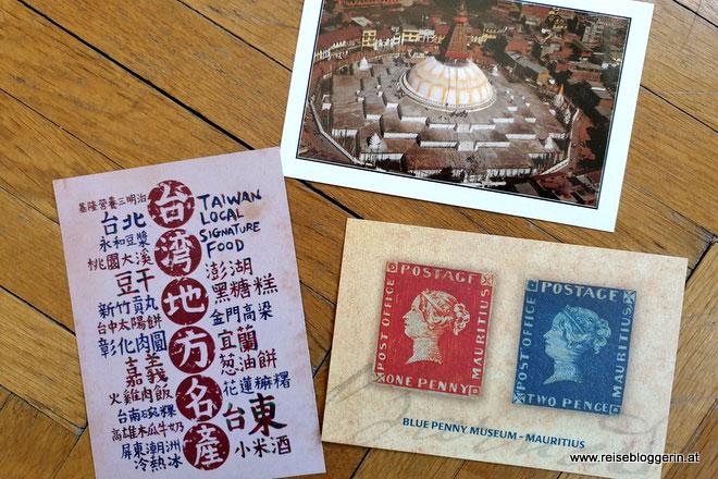 Postkarte aus Taiwan, Nepal und Mauritius