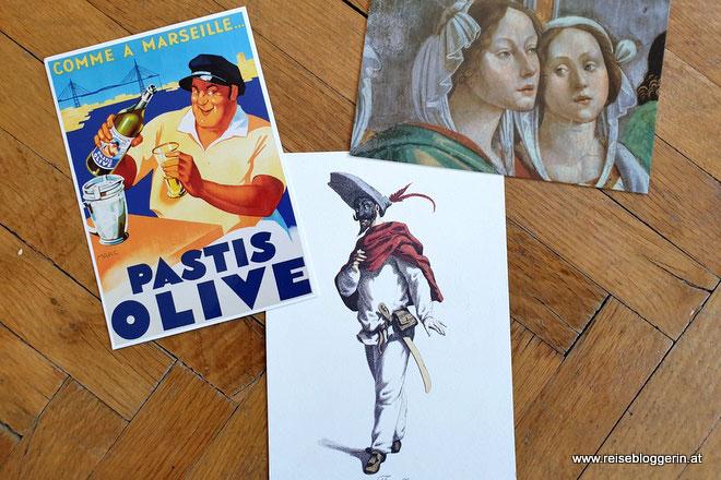 Weltreisen mit Postkarten: Postkarten aus Venedig, Florenz und Marseille