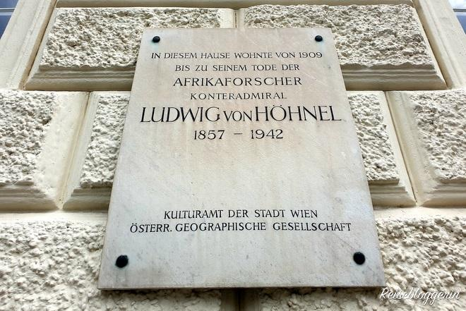 Die Gedenktafel Ludwig von Höhnel