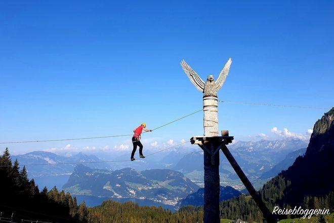 Der Seilpark Främüntegg ist der größte Park der Zentralschweiz