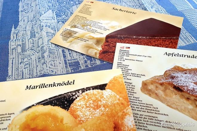 Postkarten mit Rezepten von Wiener Mehlspeisen