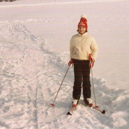 Gudrun beim Skifahren